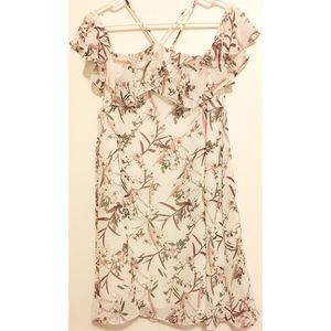Mahina ruffled shoulder floral white strappy dress